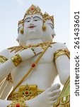 Small photo of beautiful white Brahma, Hindu God statue in temple
