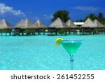 blue drink with turquoise...   Shutterstock . vector #261452255