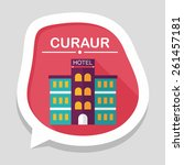 hotel flat icon with long... | Shutterstock .eps vector #261457181