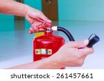 fire extinguishers fighting... | Shutterstock . vector #261457661