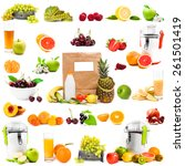 photo collage fruits and juices ... | Shutterstock . vector #261501419