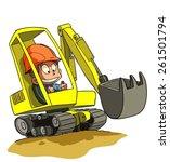 Cartoon Excavator At...