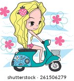 cute girl riding scooter vector.