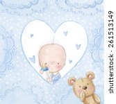 baby shower greeting card.baby... | Shutterstock . vector #261513149