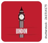 big ben flat icon with shadow  | Shutterstock .eps vector #261514175