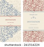 set of antique greeting cards ... | Shutterstock .eps vector #261516224