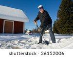 man shoveling snow   Shutterstock . vector #26152006