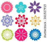 set of colorful flower... | Shutterstock .eps vector #261527915