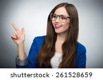 beautiful woman pointing finger | Shutterstock . vector #261528659