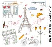 paris symbols  postcard  hand... | Shutterstock .eps vector #261560429