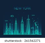 new york city skyline detailed... | Shutterstock .eps vector #261562271