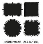 set of black labels with rough... | Shutterstock .eps vector #261564101