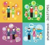 family with children kids... | Shutterstock . vector #261571901