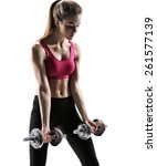 fit girl workout   photo set of ... | Shutterstock . vector #261577139