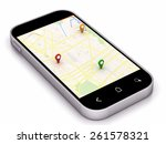 phone navigation map with... | Shutterstock . vector #261578321