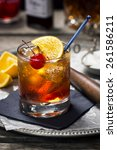 old fashioned cocktail in... | Shutterstock . vector #261586211