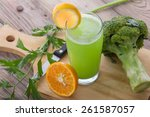 a portrait of a glass celery... | Shutterstock . vector #261587057