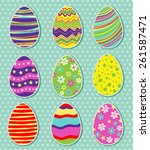 set of easter eggs isolated | Shutterstock .eps vector #261587471