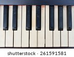 Old Piano Keys Viewed From Above
