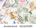 Stock photo many different currencies as colorful background concept global money 261634289