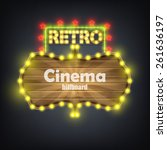wooden cinema retro billboard... | Shutterstock .eps vector #261636197