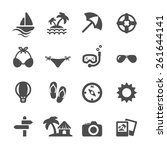 travel and vacation icon set ...