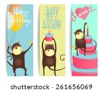 monkey fun cards with birthday... | Shutterstock . vector #261656069