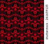 red floral pattern on black... | Shutterstock .eps vector #261659135