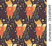 pattern with cute cartoon fox...   Shutterstock .eps vector #261685649