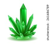 Green Crystal Isolated Vector...