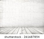 grey cement wall and wooden... | Shutterstock . vector #261687854