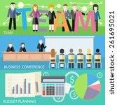 man presenting development and... | Shutterstock .eps vector #261695021