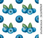 waterolor blueberry background. ... | Shutterstock . vector #261698969