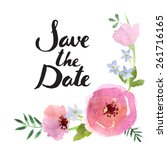 save the date lettering. hand... | Shutterstock .eps vector #261716165
