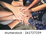 lot of hands together one over... | Shutterstock . vector #261727259