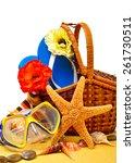 wicker basket  flip flops ... | Shutterstock . vector #261730511