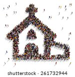 large group of people seen from ... | Shutterstock . vector #261732944