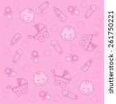 sweet pink baby girl elements... | Shutterstock .eps vector #261750221