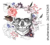 skull and flowers day of the... | Shutterstock .eps vector #261753245