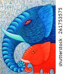 red and blue elephant 2 ... | Shutterstock . vector #261753575