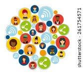 social network design  vector... | Shutterstock .eps vector #261754571