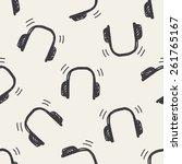 doodle headphone seamless... | Shutterstock .eps vector #261765167