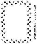 Dog Paw Prints Border On White...