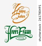 happy easter typography swirl... | Shutterstock .eps vector #261780491