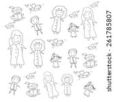 hand drawing cartoon concept... | Shutterstock .eps vector #261785807