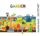 background with garden sticker...   Shutterstock .eps vector #261787487