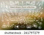 hand drawn vintage floral... | Shutterstock .eps vector #261797279