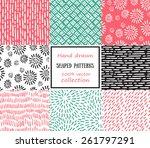 set of seamless stroke patterns.... | Shutterstock .eps vector #261797291