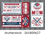 set of vintage baseball tickets | Shutterstock .eps vector #261800627