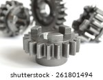 set of metal gears on the white ... | Shutterstock . vector #261801494
